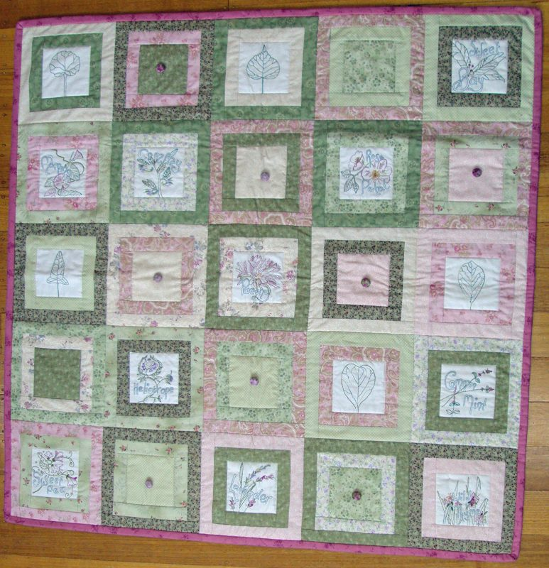 Garden Delights Stitchery Quilt Top Kit Cranberry Crafts